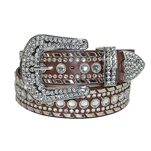 Western Rhinestone Belt Buckle - CTM Women's 1 1/2 Inch Western Rhinestone Belt, Medium, Brown