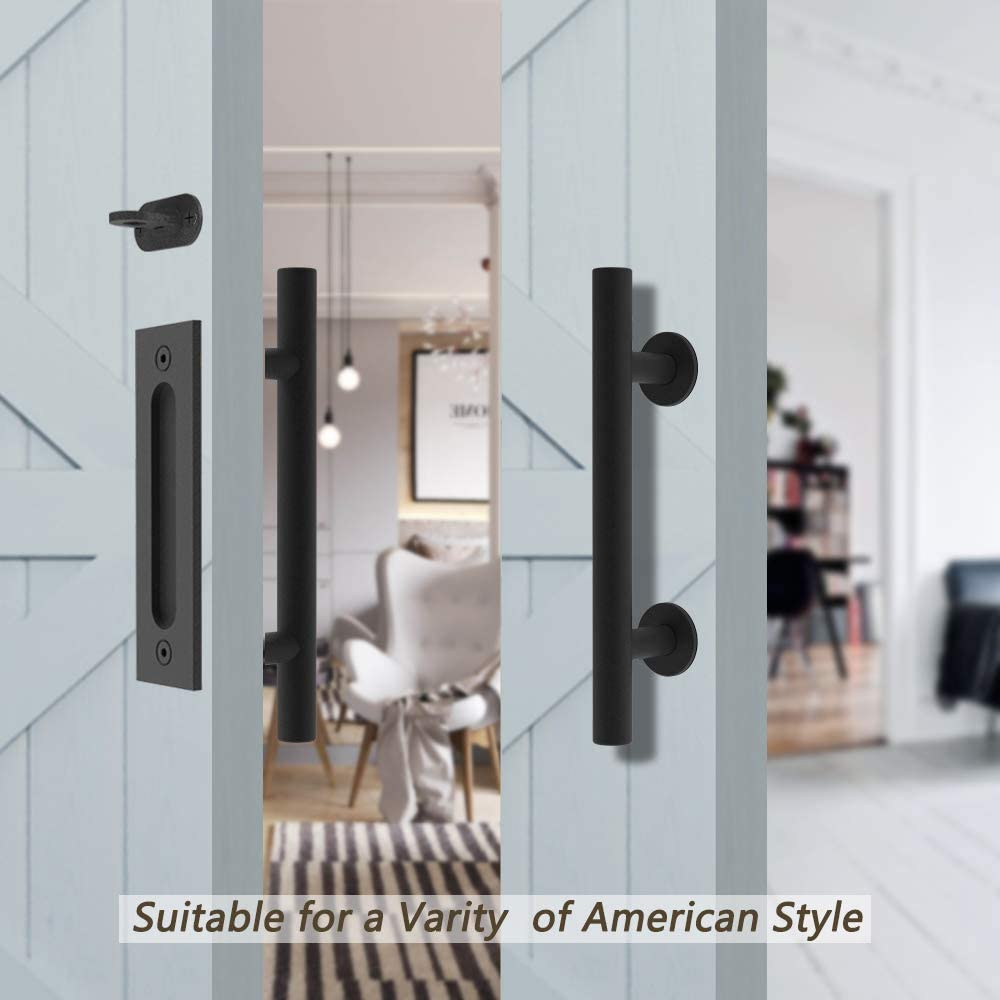 HomLux Heavy Duty 10 Pull and Flush Barn Door Handle Set Ergonomic Modern Design Classic Round Handle of American Style Frosted Black Surface Treatment-Round