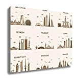 Ashley Canvas Dubai Arabian Peninsulskylines Line Art Style, Wall Art Home Decor, Ready to Hang, Sepia, 16x20, AG5883481