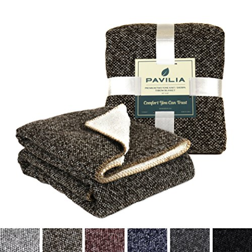 Premium Fleece Microplush Coffee Brown Sherpa Throw Blanket for Couch, Sofa by Pavilia | Soft, Cozy, Warm, Reversible | Fuzzy Lightweight Microfiber, Two-Tone Knit for All Season Use | 50 x 60 Inches (Sofa Tone Microfiber)