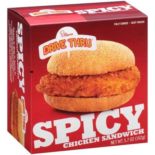 Pierre Drive Thru Spicy Breaded Chicken Sandwich, 5.7 Ounce -- 12 per case.