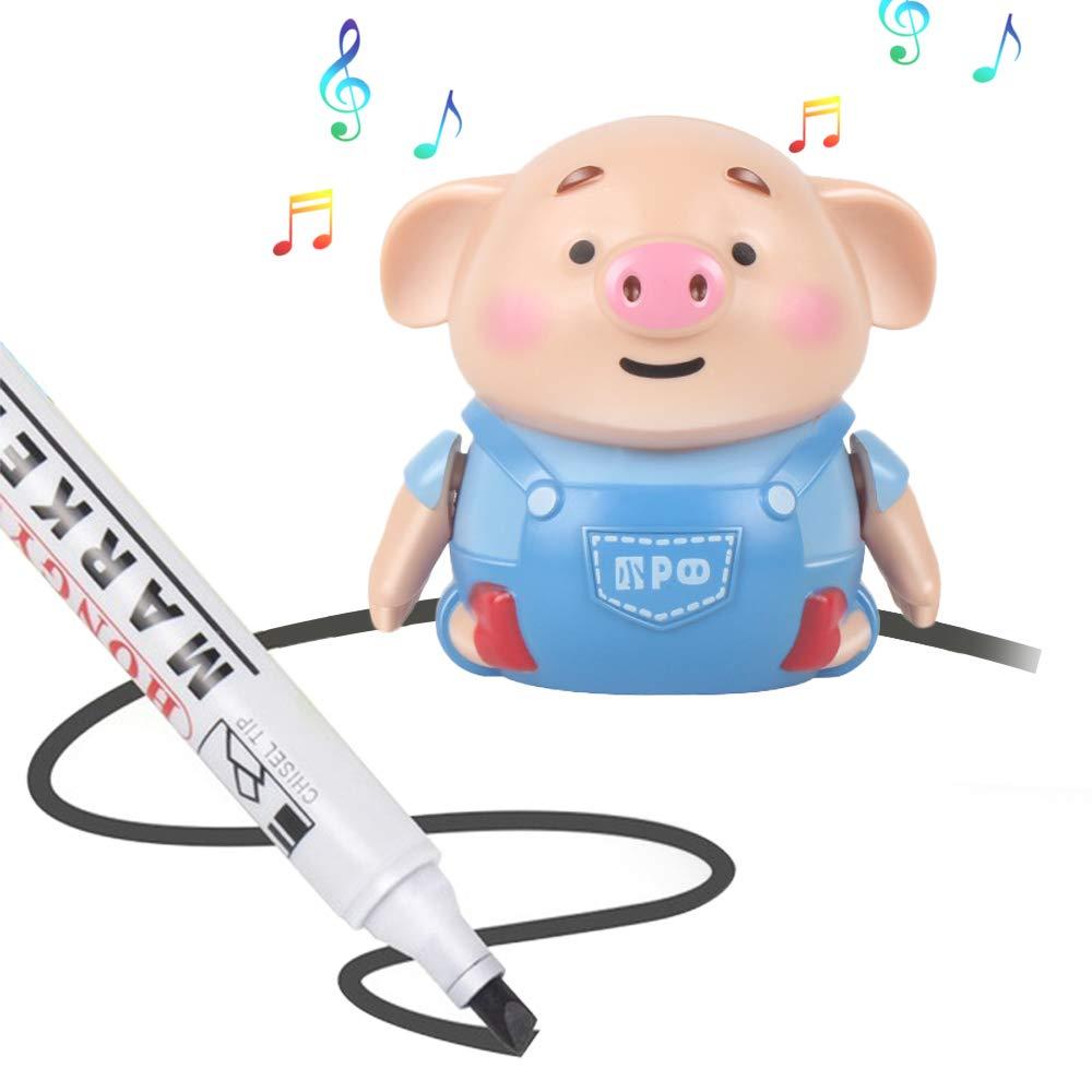 BEFANS Magic Inductive Mini Pig Toys Mini Toy Car for Kids Christmas Birthday Gifts Magic Toy Pig Follows Drawn Black Line