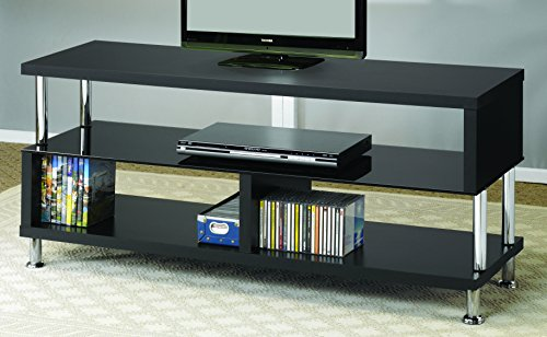- Coaster Contemporary Black TV Console with Glass and Chrome Accents