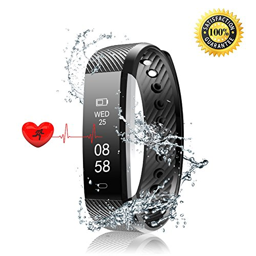 Fitness Tracker HR-Realdios Smart Watch with Heart Rate Monitor Touch Screen Bracelet Waterproof Sweatproof Sleep Tracker Step Distance Calorie Counter Pedometer Wristband for Android and iOS (Black)