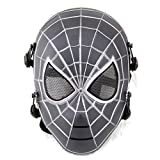 ATAIRSOFT Spiderman Airsoft Tactical Paintball Mesh Full Face Protection Mask Silver Black