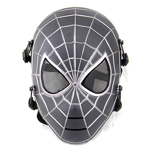 ATAIRSOFT Spiderman Airsoft Tactical Paintball Mesh Full Face Protection Mask Silver Black by ATAIRSOFT