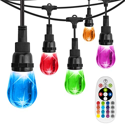 (AREOUT Color Changing String Lights with 24 Impact Resistant Acrylic Bulbs,48FT, Heavy Duty LED Outdoor String Lights Cafe Lights,Commercial Grade, Weatherproof, Wireless Remote Control)