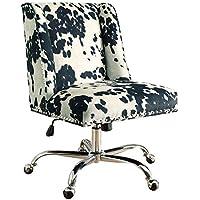 Linon AMZN0243 Clayton Black Cow Print Office Chair, Metallic