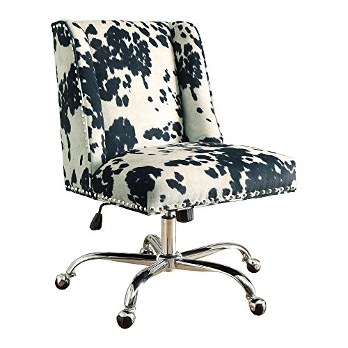 Linon AMZN0243 Clayton Black Cow Print Office Chair, Metallic ()
