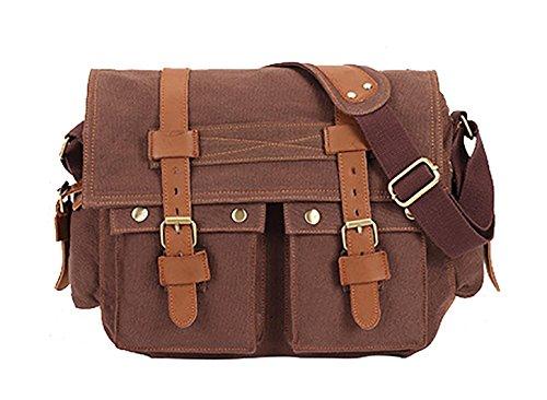 Veenajo Men's Vintage Canvas Leather Satchel School Shoulder Bag Messenger Laptop Bag (Coffee)