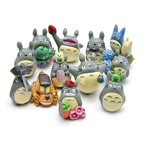 Saideke Home 12pcs My Neighbor Totoro Figures Toy Miniature Micro Gnome Terrarium Resin Craft Gift