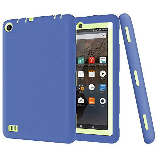 Fire 7 2015 Case, Amazon Fire 7 Case, NOKEA Hybrid Heavy Duty Rugged Shockproof Armor Defender Cover Case for Fire 7 Inch [Kids Friendly] Tablet (5th Generation - 2015 release Only) (Nary Green) (Hd Fire Case Kindle 7 Zebra For)