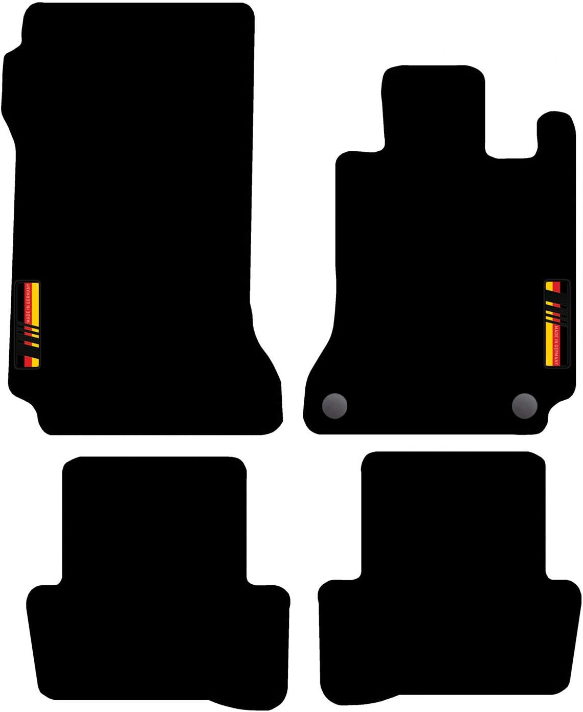 Automatic Black 47x2 Carsio L40-CARP-CUT-1163- Tailored Carpet Car Floor Mats with Logo 2 Clips for C Class 2007 to 2014