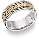 Braided Wedding Band Ring – 14K Two-Tone Gold