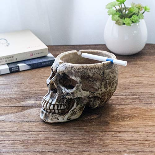 (HMGYGS Spooky Human Skull Ashtray for Scary Halloween Decorations and Decorative Skulls & Skeletons Figurines As Gothic Smoking Room Decor Gifts for Smokers by)