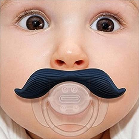 Amazon.com: Funny Baby niño bigote niños pezones chupete ...