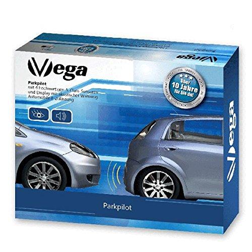 VSG R4S Premium Einparkhilfe mit Farb-Display und eingebauten Pieper inklusiv 4 Sensoren in weiß für vorne