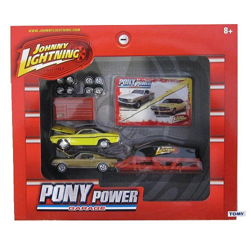 (TOMY Johnny Lightning Pony Power Garage 1/64 Scale Set w/ 2 Diecast Cars (1965 Ford Mustang 2x2 Fastback & 1970 Dodge Challenger R/T))