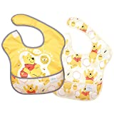 Bumkins Disney Winnie The Pooh SuperBib, Baby Bib, Waterproof, Washable, Stain and Odor Resistant, 6-24 Months (Pack of 2) - Hunny