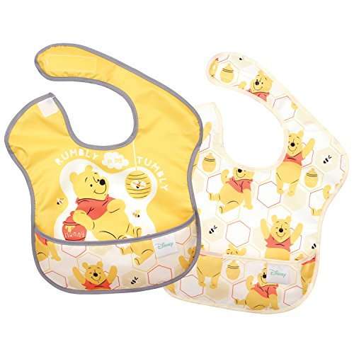 - Bumkins Disney Winnie The Pooh SuperBib, Baby Bib, Waterproof, Washable, Stain and Odor Resistant, 6-24 Months, 2-Pack - Hunny