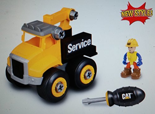 CAT Machine Maker Junior Operator Service Truck,9 Piece Set Includes Figure & Screwdriver (Caterpillar Machine)