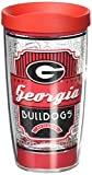 Tervis 1230189 Georgia Bulldogs Pregame Prep Tumbler with Wrap and Red Lid 16oz, Clear