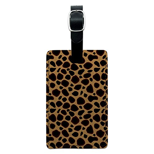 Graphics & More Cheetah Print Leather Luggage Id Tag Suitcase Carry-on, Black (Travel Cheetah Luggage)