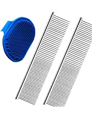 2 Pack Pet Hair Grooming Comb and 1 Pack Dog Bath Brush - Pet Stripping Dematting Combs with Rounded Teeth and Non-Slip Grip Handle Stainless Steel for Dogs and Cats Kitty Puppy