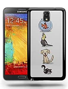 Cute Retro Animal Pets Colorful Fish Bird Cat and Dog Phone Case Cover Designs for Samsung Galaxy Note 3