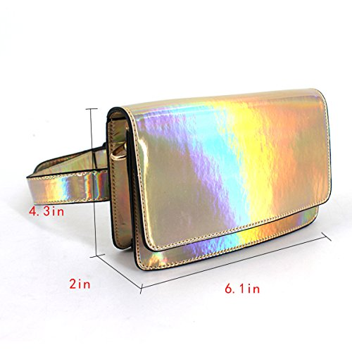 Waist Bag PVC Women's Bum Fanny Raves AiSi Festivals Purse Pack Gold Hologram wXpxwq6