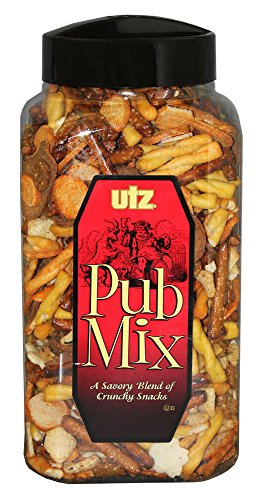 Utz Pub Mix - 44 Ounce Barrel - Savory Snack Mix, Blend of Crunchy Flavors for a Tasty Party Snack - Resealable Container - Cholesterol Free and Trans-Fat Free
