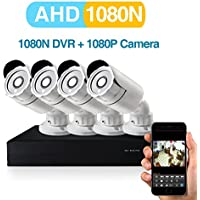 2MP AHD Security Camera System 4 X 1080P Weatherproof CCTV Camera and 1080N 4CH DVR Recorder Support AHD//TVI/CVBS- No Hard Drive
