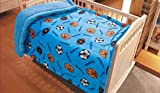 Elegant Home Kids Soft & Warm Sherpa Baby Toddler Boy Sherpa Blanket Blue Sports Basketball Soccer Football Multicolor Printed Borrego Stroller or Toddler Bed Blanket Plush Throw 40X50 # Ball