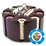 Claysmith Gaming 200-Count 'Rock & Roll' Poker Chip Set in Wooden Carousel, 13.5gm