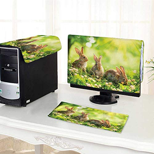 """Jiahonghome Keyboard dust Cover Computer 3 Pieces Fluffy Rabbits Bunny Family on Daisies Grass Easter Meadow Fresh Green Tan Computer dust Cover /28"""""""