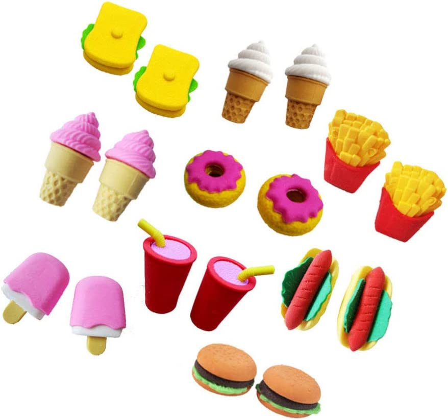 Mixed Color Exceart 30 Pcs Cute Rubber Eraser Fruits Pencil Eraser for Children Party Favors Student Prize Supplies