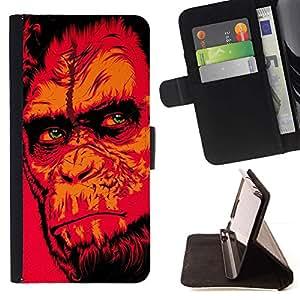 Momo Phone Case / Flip Funda de Cuero Case Cover - Red Monkey Gorila;;;;;;;; - HTC One M7