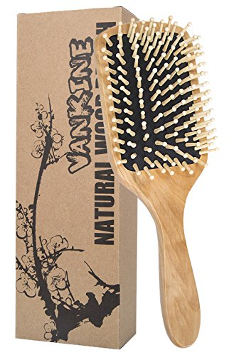 VANKINE Wooden HairBrush For All Hair Types And Healthy Hair Natural Wood Bristles Scalp Massage comb Improve Hair Growth (Pneumatic Brushes Hair Wooden)