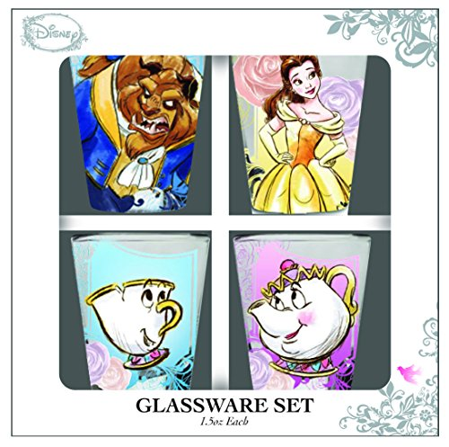 Silver Buffalo DP116163 Disney Beauty and the Beast Character Mini Glasses (4 Pack), (Disney Glass)