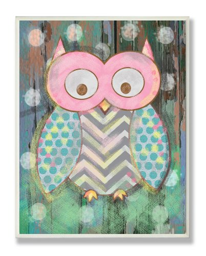 (The Kids Room by Stupell Distressed Woodland Owl Wall Plaque, 13 x 19)
