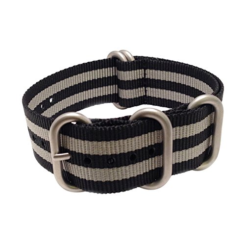 Wrist & Style Nylon ZULU Watch Strap (20mm, Black-Grey/Silver Loops)