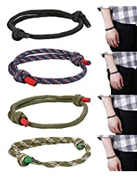FIBO Steel 4 Pcs Braided Nautical Bracelets Men Handmade Navy Rope String Cool Bracelet Adjustable