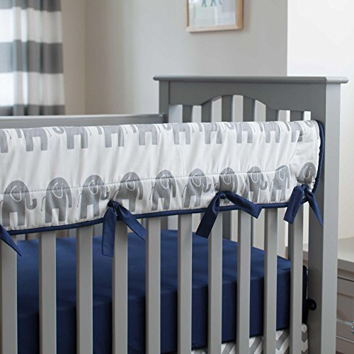 Carousel Designs Navy and Gray Elephants Crib Rail Cover by Carousel Designs (Image #4)