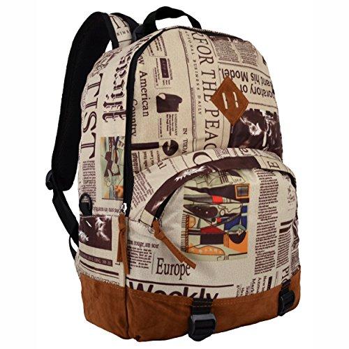 16.5 Inch Newspaper Pattern Lightweight Kids School Bookbag / Fashion Backpack