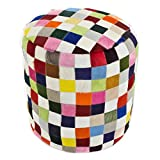 NOVICA Bohemian Leather Ottoman Covers, 'Carnaval Chess'