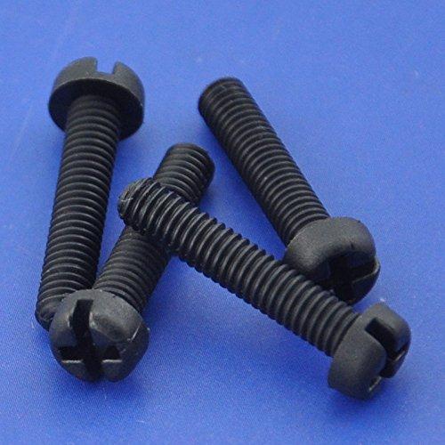 Electronics-Salon 50pcs M4 x 25 mm Phillips/ranura de nailon negro cacerola cabezal tornillo.