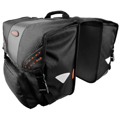 Ibera Bicycle Side Mounting Pannier Set, Bike Panniers with Multi Compartments, Slit on Top to Mount on Smaller Racks