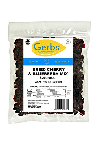 Dried Cherry & Blueberry Fruit Mix, 1 LB Bag - Food Allergy Safe & Non GMO -Preservative Free - Vegan & Kosher - Packaged at Gerbs in USA made in Rhode Island