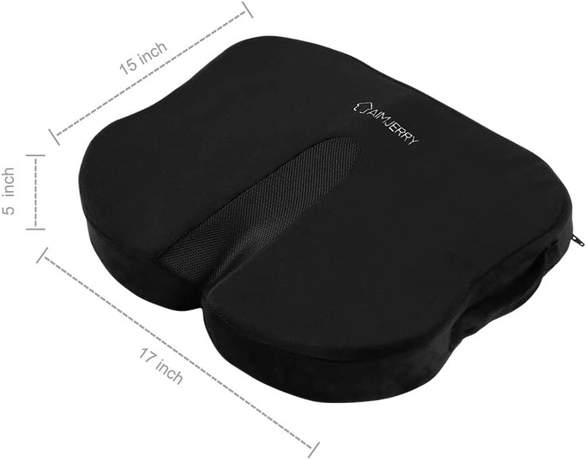 Coccyx Seat Cushion Memory Foam Tailbone Sciatica Lower Back Support,Pain Relief for Office Chair,Car Seat and Wheelchair