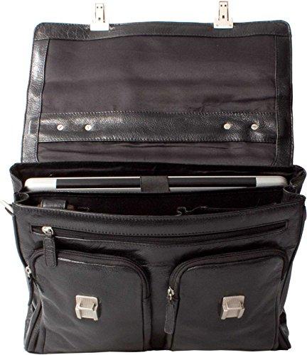 Black Briefcase Italian Leather Laptop Hideonline black 8qTXBpFw